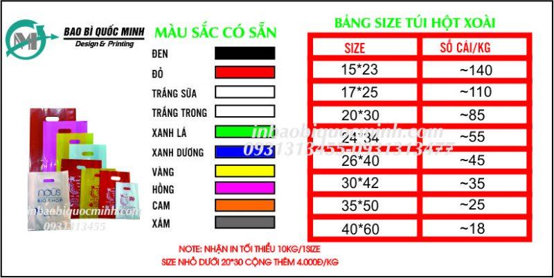 Bảng Size + Màu Sắc Túi Hột Xoài