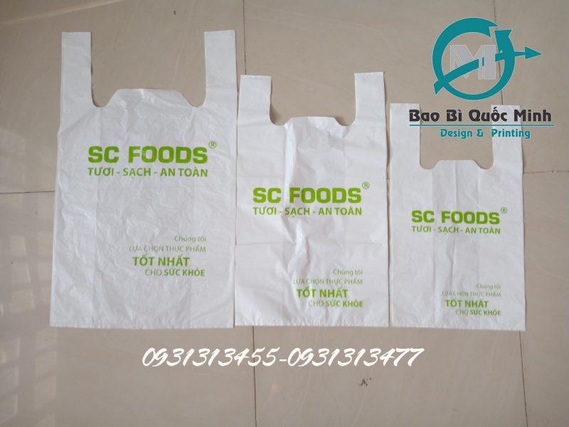 In ấn túi xốp siêu thị với đa dạng kích thước